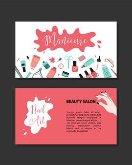 Manicure-concept. schoonheidsstudio en salon. koptekst, banner, visitekaartje, brochure en flyer van de site. cartoon vectorillustratie