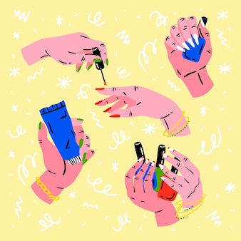 Manicure hand collectie concept