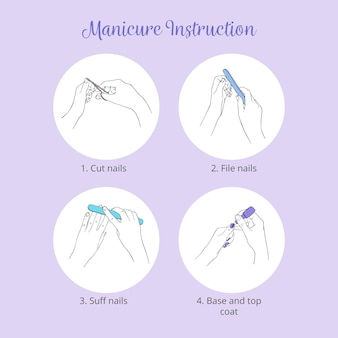 Manicure instructies illustratie pack