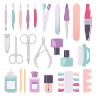 Manicure-instrumenten instellen cartoon stijl