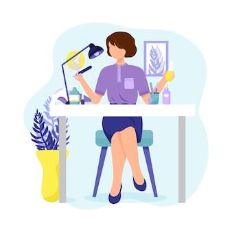 Manicure meester met een manicure machine nagelvijl en nagellakken. platte stijl karakter. vector illustratie