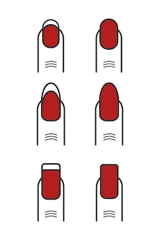 Manicure met rode geplaatste nagellakpictogrammen.
