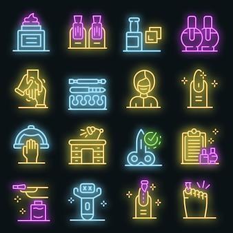 Manicure pictogrammen instellen. overzicht set manicure vector iconen neon kleur op zwart