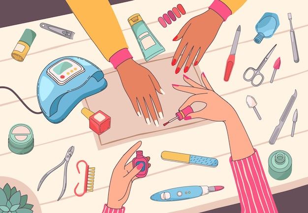 Manicure salon. manicure schilderen klanten nagels op tafel met nagel tools en cosmetica. vrouwelijke handen verzorgen het vectorconcept van de schoonheidsdienst met ultraviolette lamp, vijl, poetsmiddel en schaar