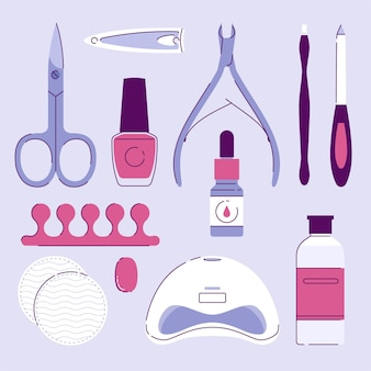 Manicure tools collectie geïllustreerd