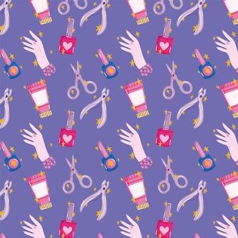 Manicure verzorgingstools schaar cuticula trimmer crème en vernis cartoon