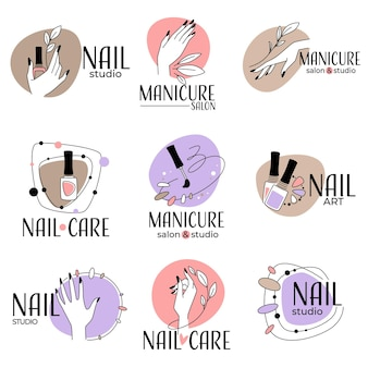 Manicuresalon en studio voor nagelbehandeling, geïsoleerde labels en emblemen met vrouwelijke handen en poetsmiddel