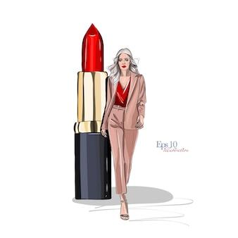 Manier en stijlschets mooie vrouw in een modieus kostuum en rode lippenstiftschoonheidsmiddelen