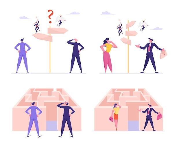 Manier kiezen, ingewikkeld besluit concept met verwarde zakenmensen staan op wegwijzer