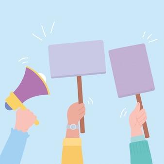 Manifestatie protestactivisten, opgeheven handen met megafoon en plakkaten illustratie