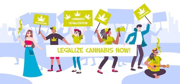 Manifestatiebijeenkomst ter illustratie van de legalisering van cannabis Gratis Vector