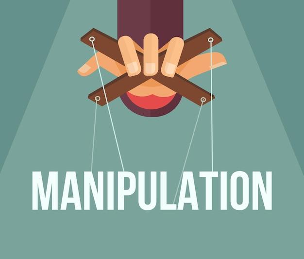 Manipulatie hand. platte cartoon afbeelding