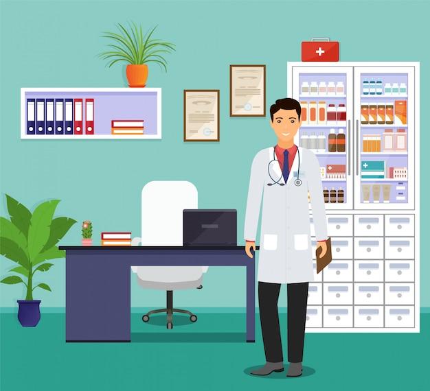 Mann arts in eenvormige status dichtbij het bureau in spreekkamer. geneeskunde werknemer karakter wachten op patiënten.