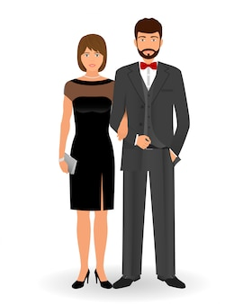 Mannelijk en vrouwelijk paar in elegante kleding voor officiële sociale evenementen. zwarte stropdas dresscode. cocktail avondkleding.