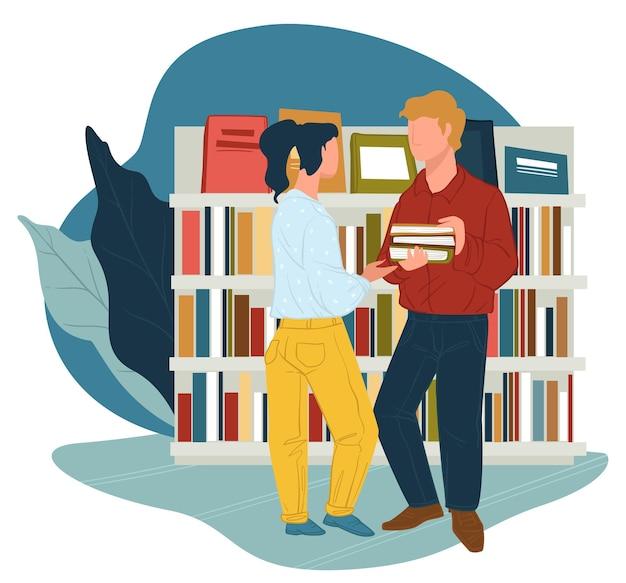 Mannelijk en vrouwelijk personage praten in bibliotheek of boekhandel. lezers met publicaties bij planken met bestsellers. communicatie van universitaire groepsgenoten of collega's. vector in vlakke stijl