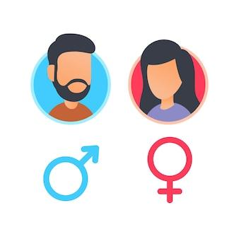 Mannelijk en vrouwelijk pictogram voor geslachtsteken