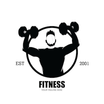Mannelijk fitness logo silhouet