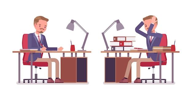 Mannelijk kantoor moe en druk met saai papierwerk