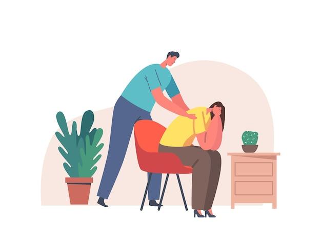 Mannelijk karakter dat troost en steun geeft aan vriend vrouw die palm op haar schouders houdt. meisje voelt stress, eenzaamheid