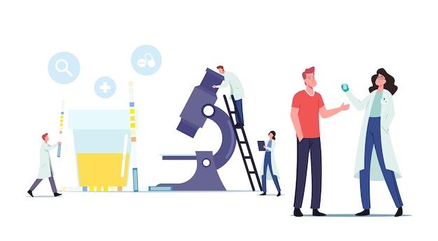 Mannelijk karakter geeft urinetest in klinisch laboratorium. kleine artsen bij enorme microscoop en container met urineonderzoeksmonster en lakmoes. gezondheidszorgconcept. cartoon mensen vectorillustratie
