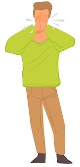 Mannelijk karakter hoesten en niezen, geïsoleerde man met symptomen van luchtwegaandoeningen. allergie of gezondheidsprobleem. pandemische situatie, man die mond bedekt met handen, vector in vlakke stijl