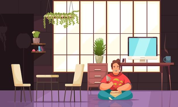 Mannelijk karakter in het interieur van het huis dat zorgt voor kamerplant die groeit in pot vlakke afbeelding