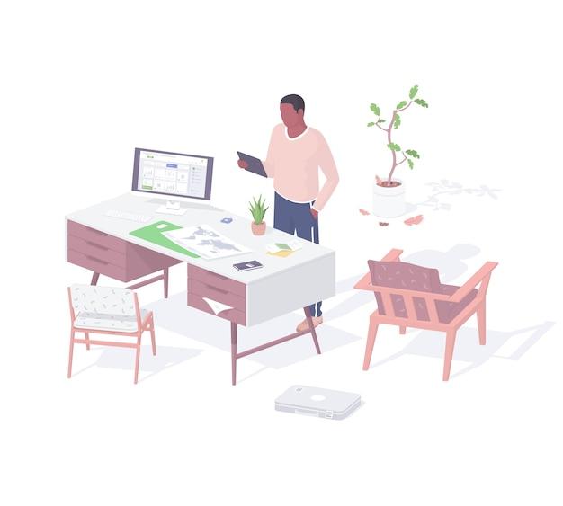 Mannelijk karakter in woonkamer communiceert