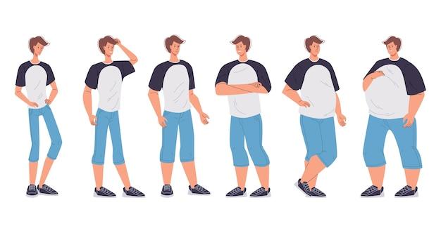 Mannelijk karakter lichaamsfiguur verandert van vorm ondergewicht slank tot oversized extreem morbide obesitas.