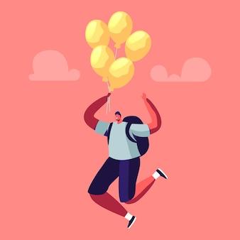 Mannelijk karakter met rugzak vliegen op luchtballon in de lucht.