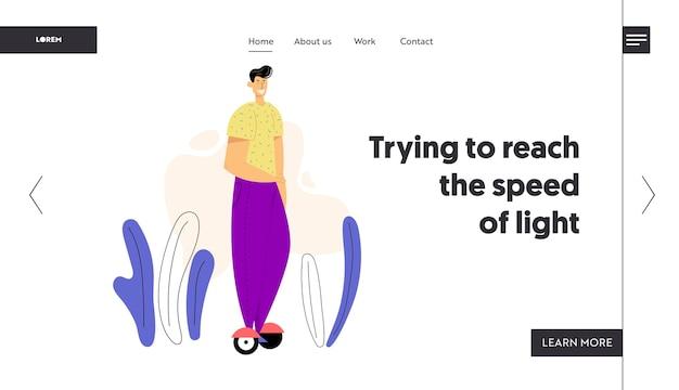 Mannelijk karakter op hoverboard-bestemmingspagina. jonge man gyro scooter rijden.