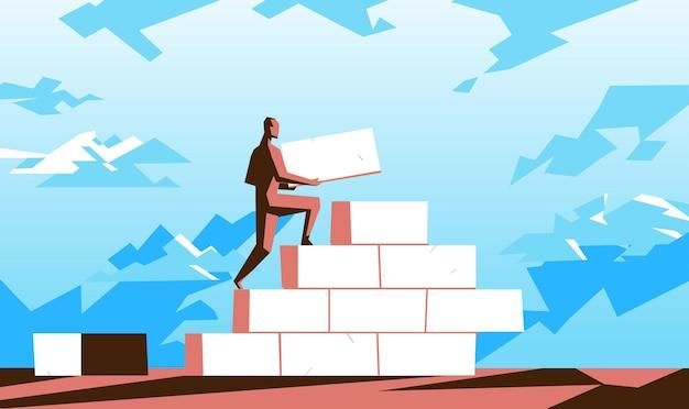 Mannelijk personage bouwt een muur met bakstenen