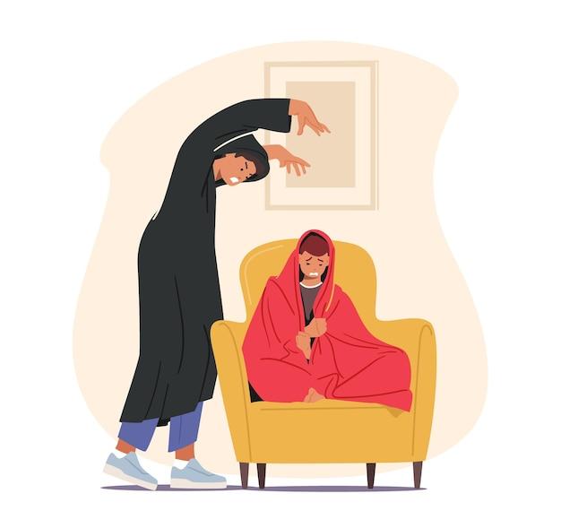 Mannelijk personage dat enge verhalen vertelt aan een bange jongen die op bed zit en zich onder de deken verstopt. kind voelt angst voor spookachtig sprookje 's nachts, verbeelding, droom. cartoon mensen vectorillustratie