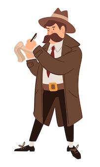 Mannelijk personage dat undercover werkt met een mantel en hoed die informatie op een notitieboekje opschrijft. spion of inspecteur op missie, werkende heer. vintage en ouderwets karakter, vector in vlakke stijl