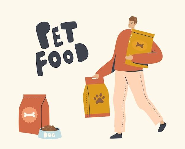 Mannelijk personage draagt enorme pakketten met voedsel voor huisdieren voor het voeren van huisdieren, kat of hond