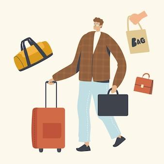 Mannelijk personage met aktetas en bagage in handen