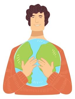 Mannelijk personage met planeet aarde globe in handen
