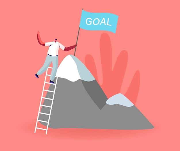 Mannelijk personage neemt nieuwe hoogte. zakenman klimmen op een hoge berg