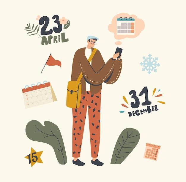 Mannelijk personage planning levensgebeurtenissen, vergaderingen en werkprojecten met kalender op digitaal smartphoneapparaat