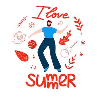 Mannelijk plan voor de zomer, ik hou van zomer cartoon plat.