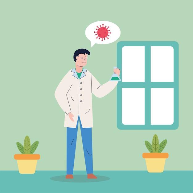 Mannelijk wetenschappelijk denken in covid19 onderzoeksvaccin