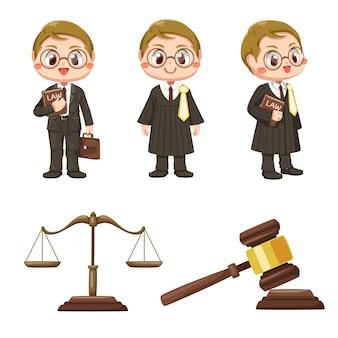 Mannelijke advocaat ingesteld met justitie schalen en houten rechter hamer