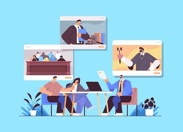 Mannelijke advocaat of rechter raadplegen bespreken met klanten tijdens het ontmoeten van wet en juridisch adviesdienst online consultatieconcept horizontaal