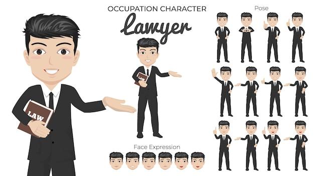 Mannelijke advocaat-tekenset met een verscheidenheid aan pose en gezichtsuitdrukking