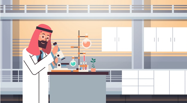 Mannelijke arabische wetenschapper werkende banner