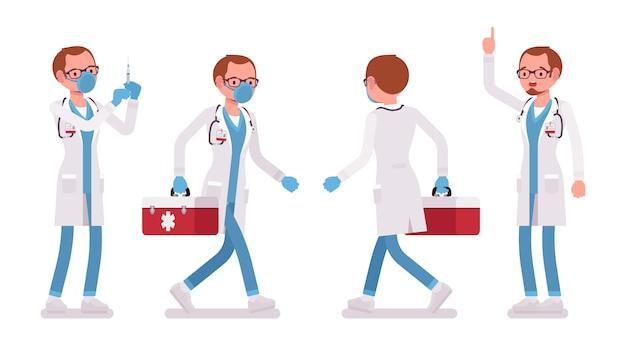 Mannelijke arts aan het werk