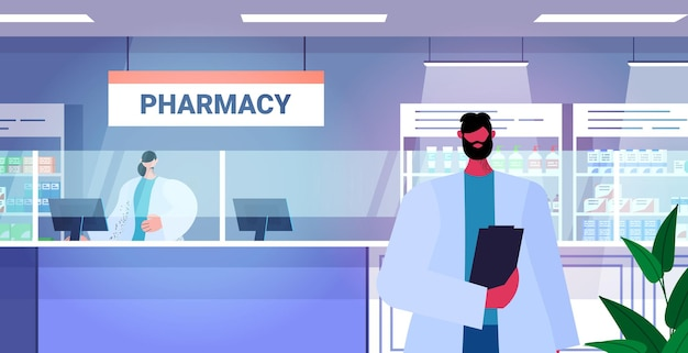 Mannelijke arts apotheker met klembord staande bij apotheek teller moderne drogisterij interieur geneeskunde gezondheidszorg concept horizontale portret vectorillustratie