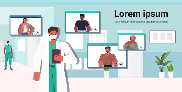 Mannelijke arts bespreken met mix race-patiënten tijdens online videogesprek