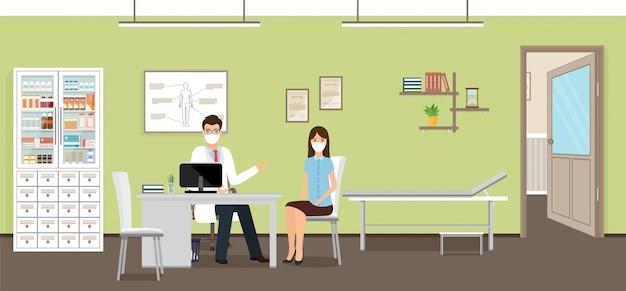 Mannelijke arts en vrouwelijke patiënt personages in medische maskers. illustratie in plat ontwerp.