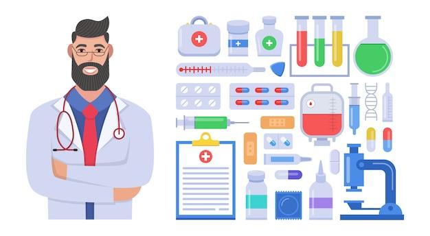 Mannelijke arts in kliniek eenvormig karakter. set van medische elementen