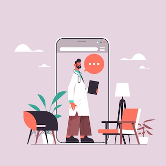 Mannelijke arts in smartphone scherm chat bubble communicatie online overleg gezondheidszorg geneeskunde medisch advies concept